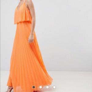 Orange crop top maxi dress.